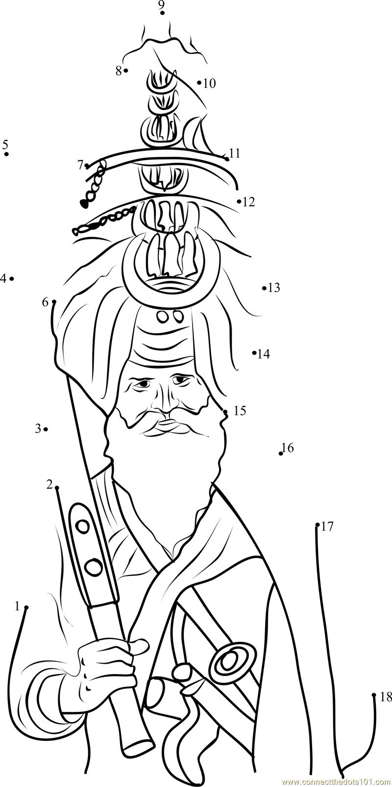 Sikh pagri dot to dot Printable Worksheet ConnectTheDots101.com