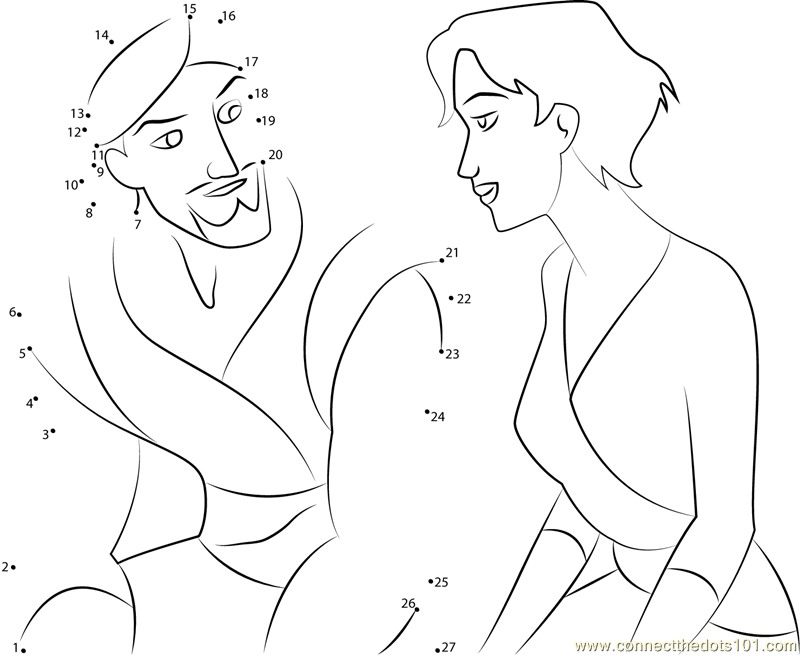 Cute Couple Worksheets : Disney cute couple sinbad with marina dot to printable