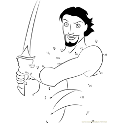 Sinbad having Swords Dot to Dot Worksheet