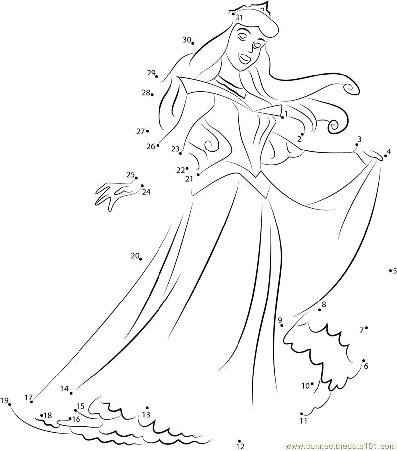 Disney Princess Aurora dot to dot printable worksheet - Connect ...