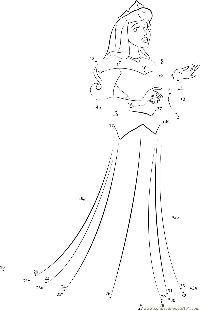 Princess Aurora the Sleeping Beauty dot to dot printable worksheet ...
