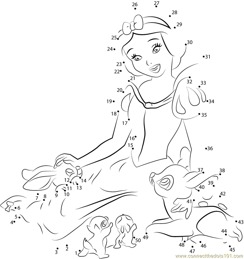Snow White Beauty dot to dot printable worksheet - Connect The Dots