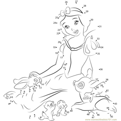 Snow White with Deer and Rabbit Dot to Dot Worksheet