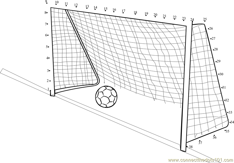 Soccer goal post dot to dot printable worksheet connect for Football goal post coloring page