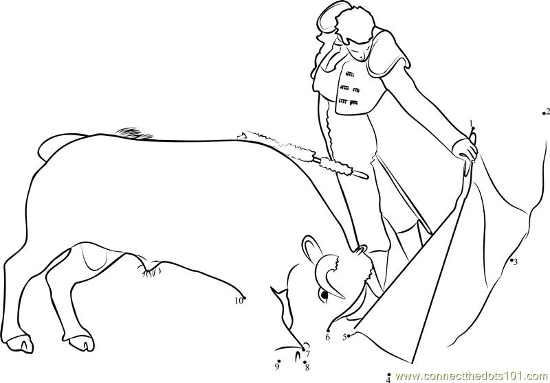 Madrid Bullfight dot to dot printable worksheet Connect