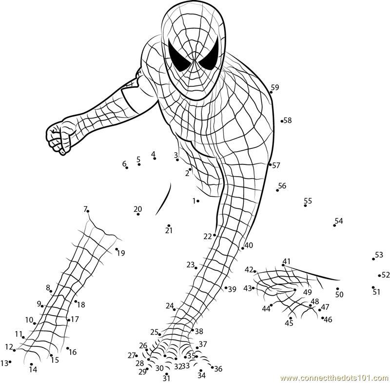 Amazing Spiderman dot to dot printable