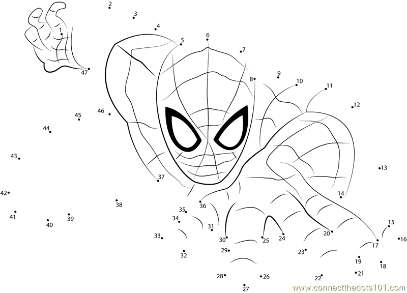 spiderman the superhero dot to dot printable worksheet connect the dots. Black Bedroom Furniture Sets. Home Design Ideas