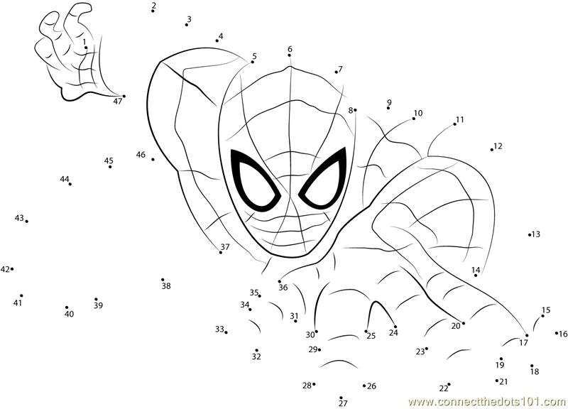 spiderman the superhero dot to dot printable worksheet connect the dots. Black Bedroom Furniture Sets. Home Design Ideas