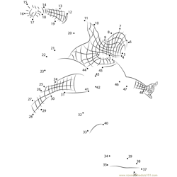 Spider Man in Attack Dot to Dot Worksheet