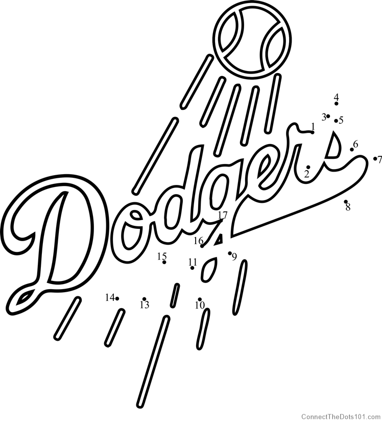 picture regarding Dodger Schedule Printable known as Los Angeles Dodgers Emblem dot in the direction of dot printable worksheet