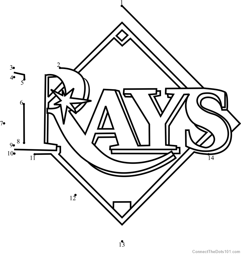 image about Rays Printable Schedule titled Tampa Bay Rays Emblem dot toward dot printable worksheet - Communicate