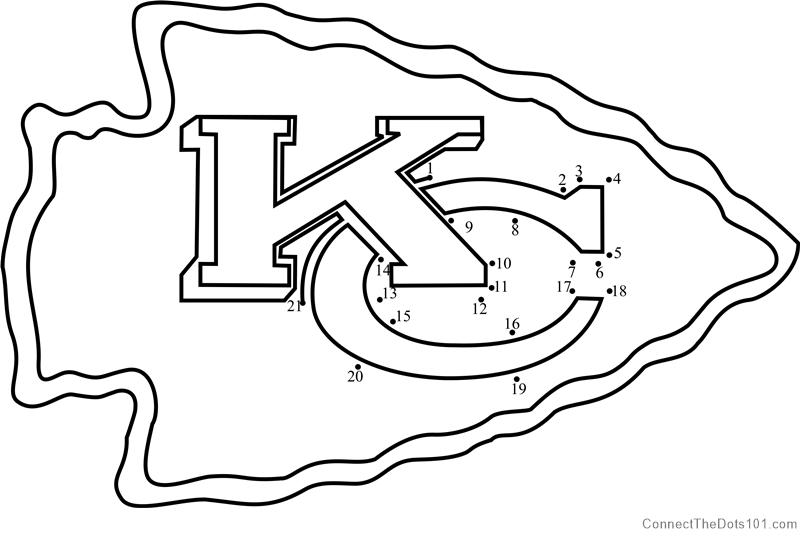 Kansas City Chiefs Logo dot to dot printable worksheet ...