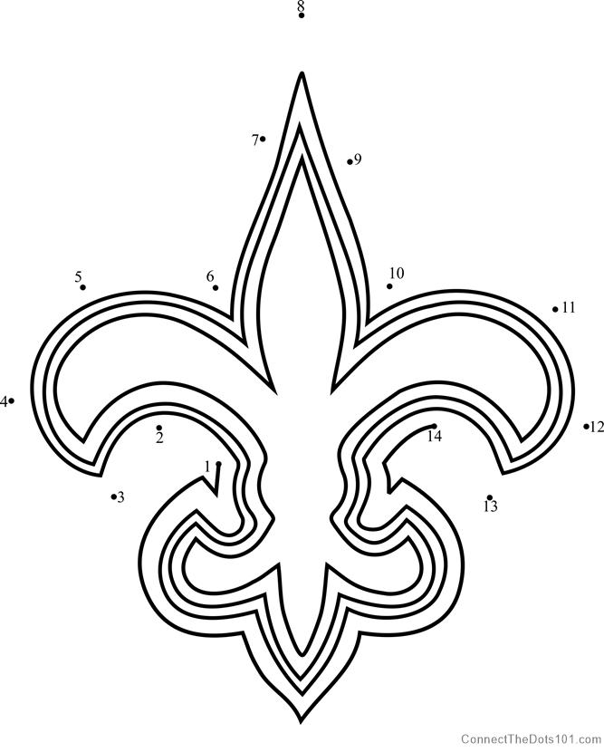 New Orleans Saints Logo Dot To Dot Printable Worksheet