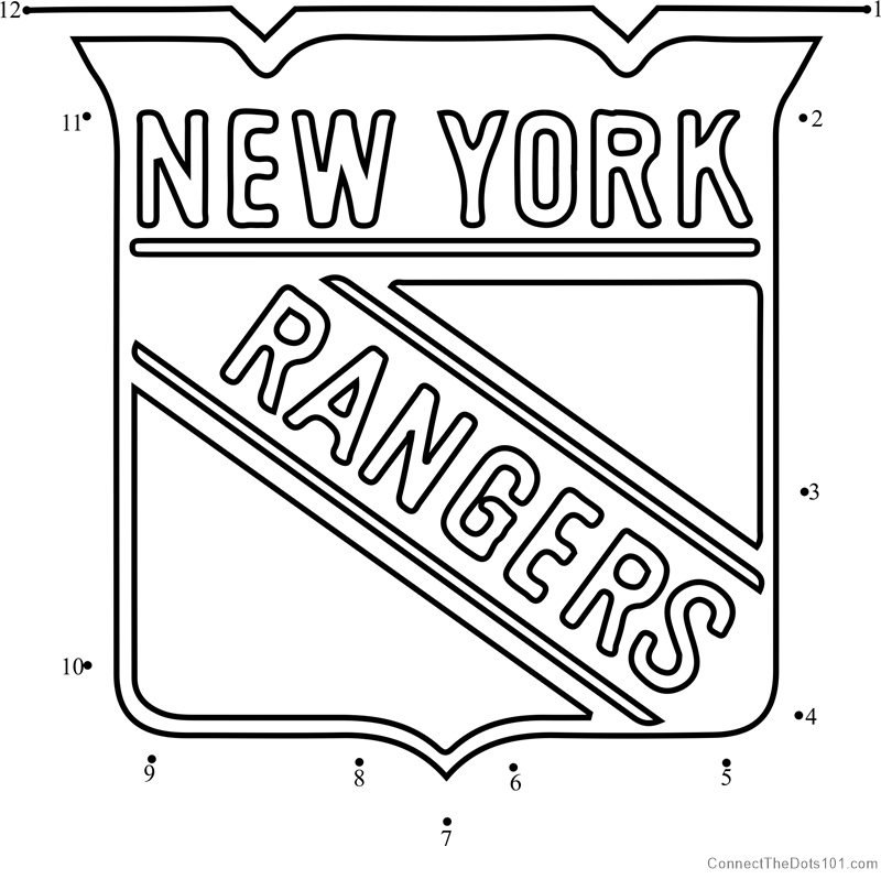 image about New York Rangers Printable Schedule identified as Contemporary York Rangers Emblem dot towards dot printable worksheet