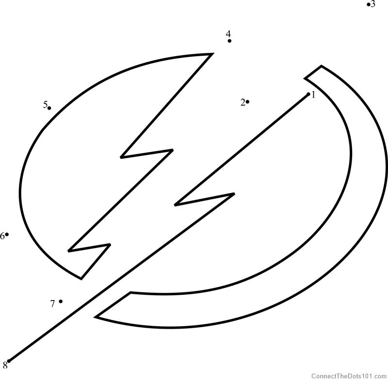 photograph regarding Tampa Bay Lightning Printable Schedule known as Tampa Bay Lightning Symbol dot in the direction of dot printable worksheet