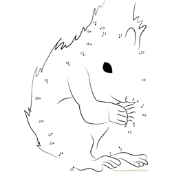 Squirrel Look Dot to Dot Worksheet