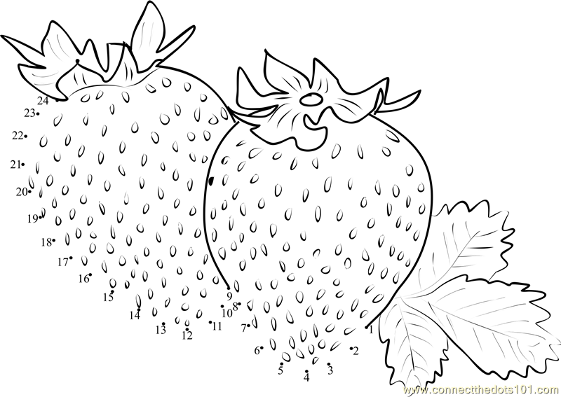 Strawberries Dot To Dot Printable Worksheet
