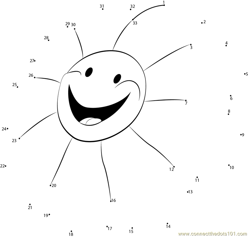 Funny Sun dot to dot printable worksheet Connect The Dots – Sun Worksheets