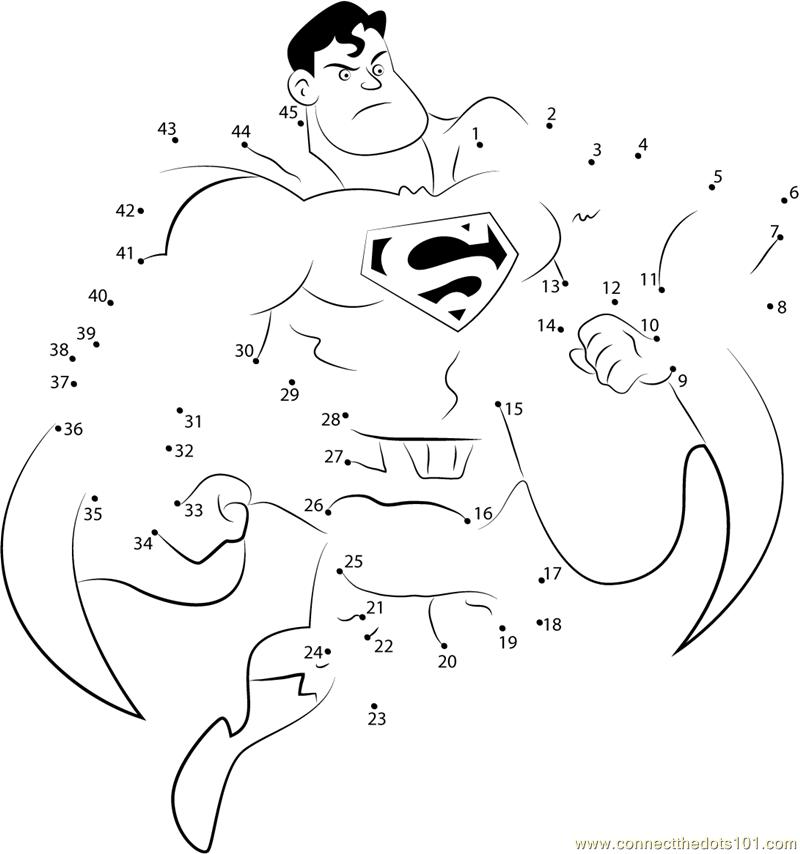 Superhero by Bezerro Bizarro dot to dot Printable Worksheet – Superhero Worksheets