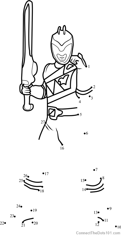 Power Ranger dot to dot printable