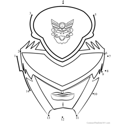 Power Ranger Mask Dot to Dot Worksheet