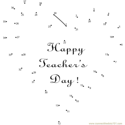 Love Teacher Day Dot to Dot Worksheet