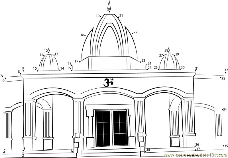 6053 Hindu Temple Dot To Dot on Superheroes Worksheets Line