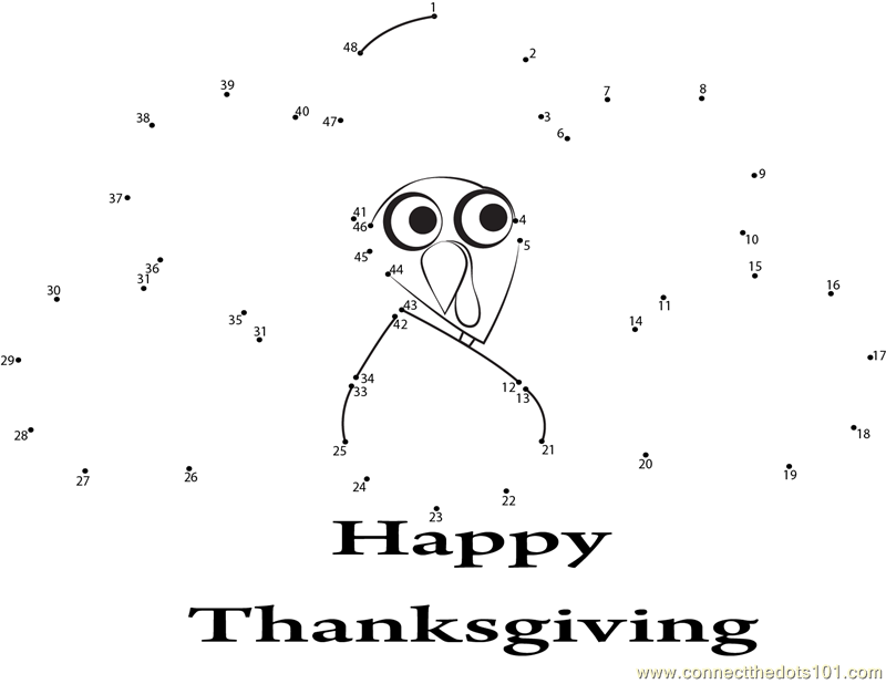 Enjoying Thanksgiving Day dot to dot printable worksheet - Connect ...