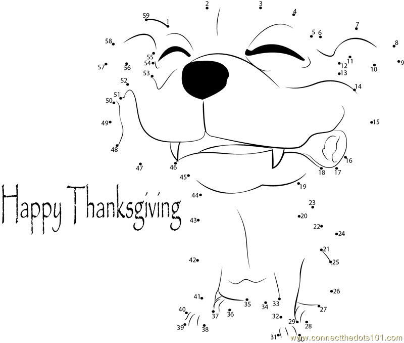 Free Happy Holiday Thanksgiving Day dot to dot printable worksheet ...