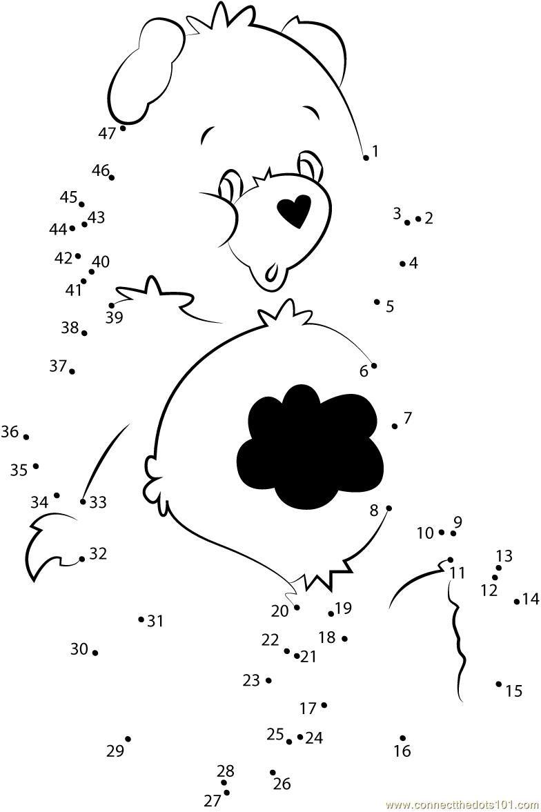 Grumpy Bear Dot To Dot Printable Worksheet Connect The Dots