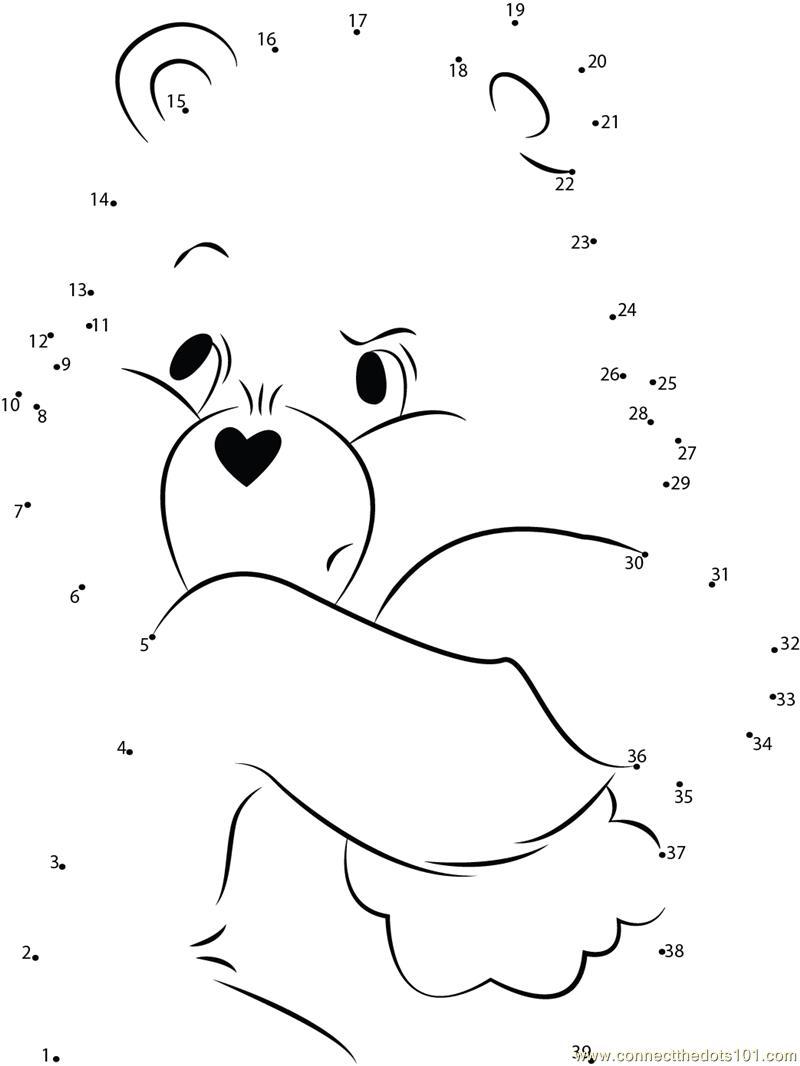 Kleurplaat Groep 1 The Care Bear Shrinking Dot To Dot Printable Worksheet