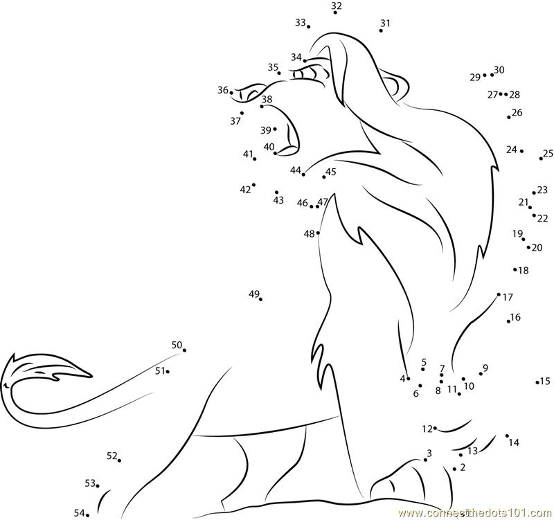Angry Lion King Dot To Dot Printable Worksheet Connect The