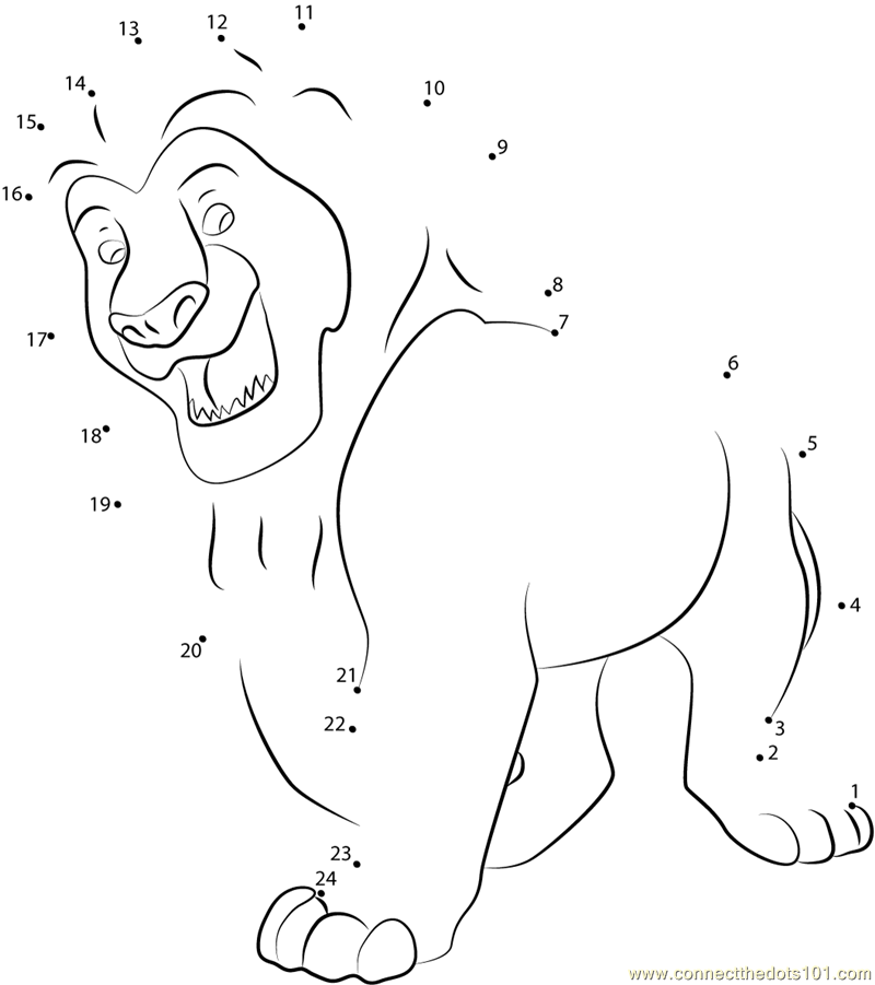 lion king simba dot to dot printable worksheet connect the dots. Black Bedroom Furniture Sets. Home Design Ideas