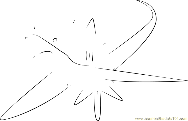 Alopias dot to dot printable worksheet connect the dots for Thresher shark coloring page