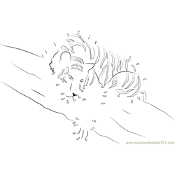 Tiger Sleeping on Tree Dot to Dot Worksheet
