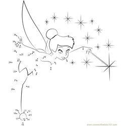 Tinkerbell with Magic Stick Dot to Dot Worksheet