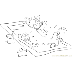 Tom and Jerry Relax on Beach Dot to Dot Worksheet