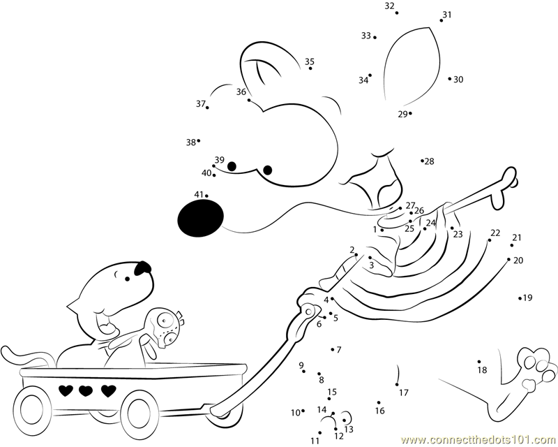 Toopy and binoo going together dot to dot printable for Toopy and binoo coloring pages