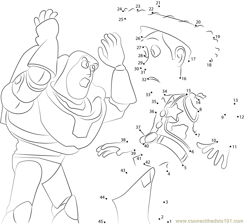 Buzz Lightyear And Sheriff Woody Dot To Dot Printable