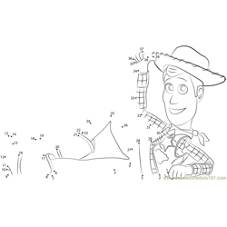 Sheriff Woody Relaxing Dot to Dot Worksheet