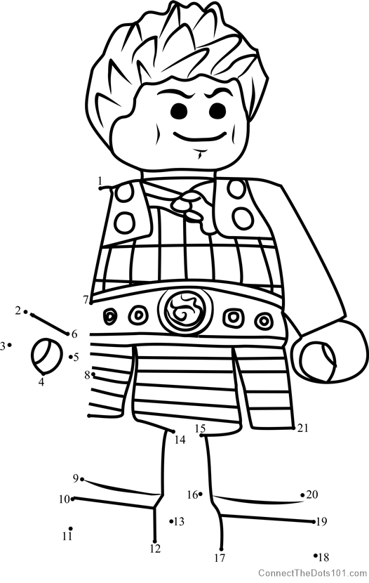 Ash Ninjago dot to dot printable worksheet - Connect The Dots