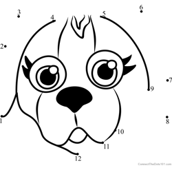 Pet Parade Beagle Puppy Face Dot to Dot Worksheet