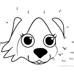 Pet Parade Border Collie Puppy Face Dot to Dot Worksheet