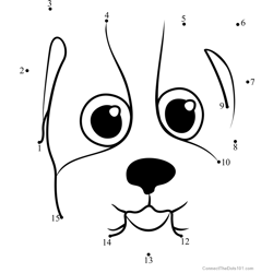 Pet Parade Bulldog Puppy Face Dot to Dot Worksheet