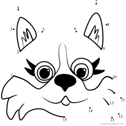 Pet Parade Corgi Puppy Face Dot to Dot Worksheet