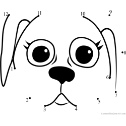 Pet Parade Danish Pointer Puppy Face Dot to Dot Worksheet