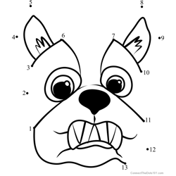 Pet Parade French Bulldog Puppy Face Dot to Dot Worksheet