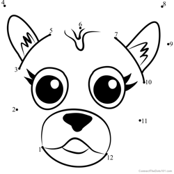 Pet Parade German Shepherd Puppy Face Dot to Dot Worksheet