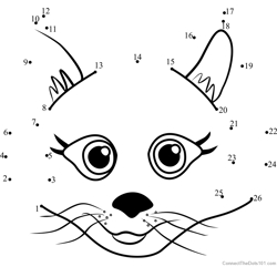 Pet Parade Persian Puppy Face Dot to Dot Worksheet