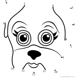 Pet Parade Pug Puppy Face Dot to Dot Worksheet